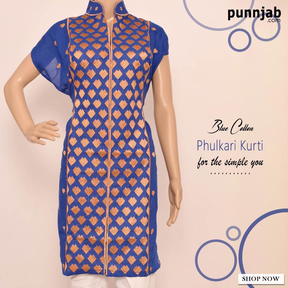 Punnjab - Buy Phulkari Kurti online Shopping at best prices in India