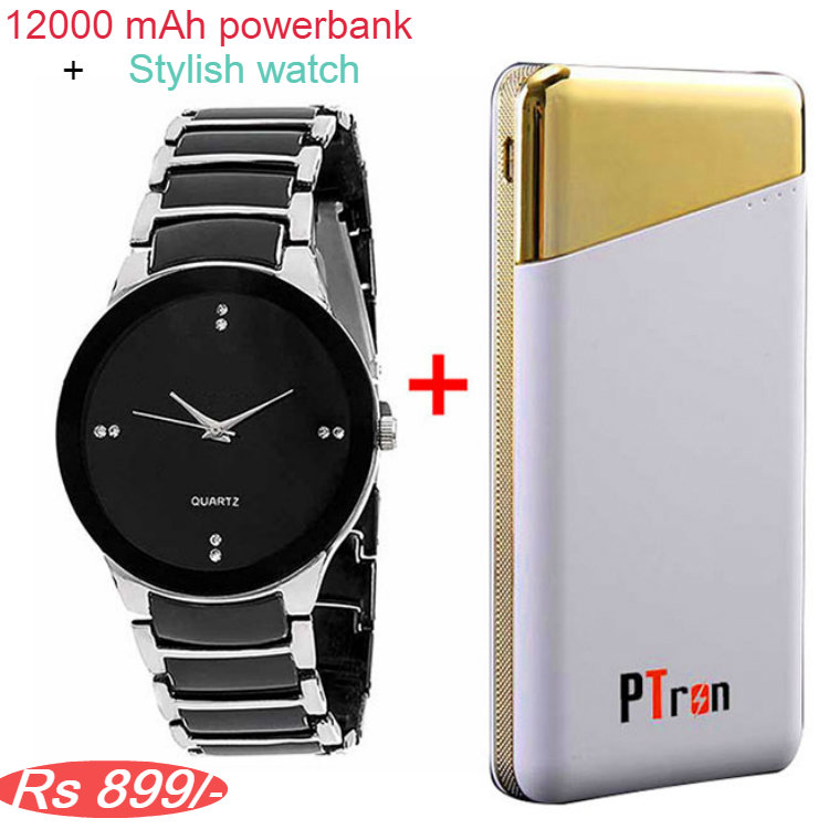 PTron Bravado 12000mAh Power Bank and stylish Mens watch Combo